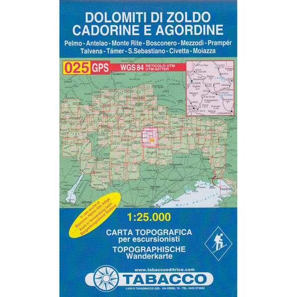 TABACCO 025 DOLOMITI DI ZOLDO - Wanderkarte