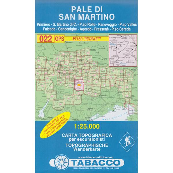TABACCO 022 PALE DI SAN MARTINO - Wanderkarte