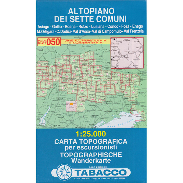 TABACCO 050 ALTOPIANO DEI SETTE - Wanderkarte