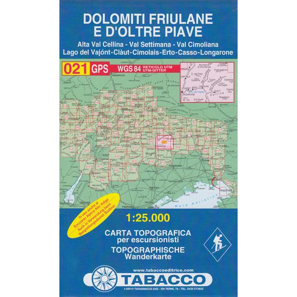 Tabacco 021 Dolomiti di Sinistra Piave