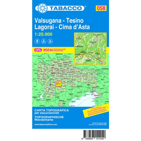 TABACCO #58 VALSUGANA - TESINO - Wanderkarte