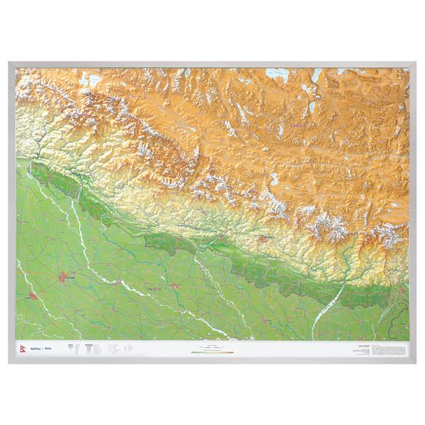 Nepal Gross 1:1.150.000 Aluminiumrahmen