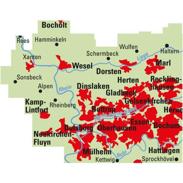 ADFC-Regionalkarte radrevier.ruhr West