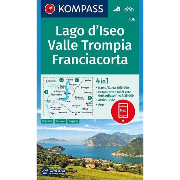 Lago d'Iseo, Valle Trompia, Franciacorta 1 : 50 000 - Wanderkarte