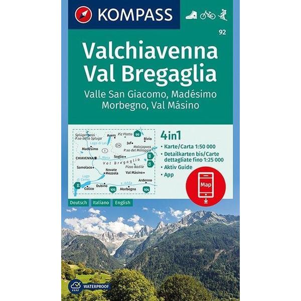 Valchiavenna, Val Bregaglia, Valle San Giacomo, Madésimo, Morbegno, Val Másino 1:50 000 - Wanderkarte