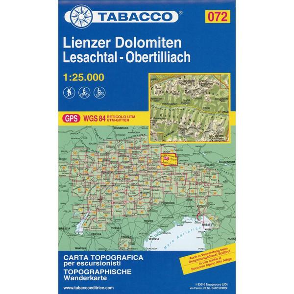 Tabacco Wandern 1 : 25 000 Lienzer Dolomiten -Lesachtal-Obertilliach-Lienz - Wanderkarte