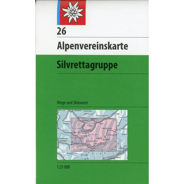 DAV Alpenvereinskarte 26 Silvrettagruppe 1 : 25 000 mit Wegmarkierungen und Skirouten - Wanderkarte