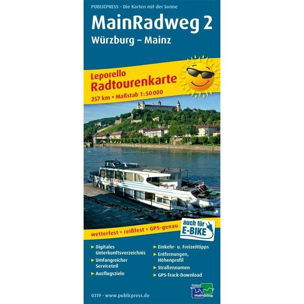 Main-Radweg 2, Würzburg - Mainz 1:50 000 - Fahrradkarte