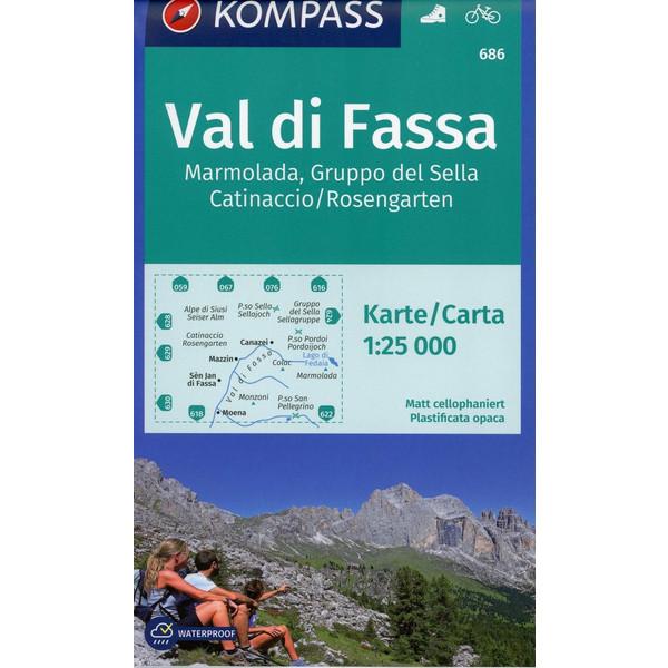 Val di Fassa, Marmolada, Gruppo del Sella, Catinaccio/Rosengarten 1:25 000 - Wanderkarte