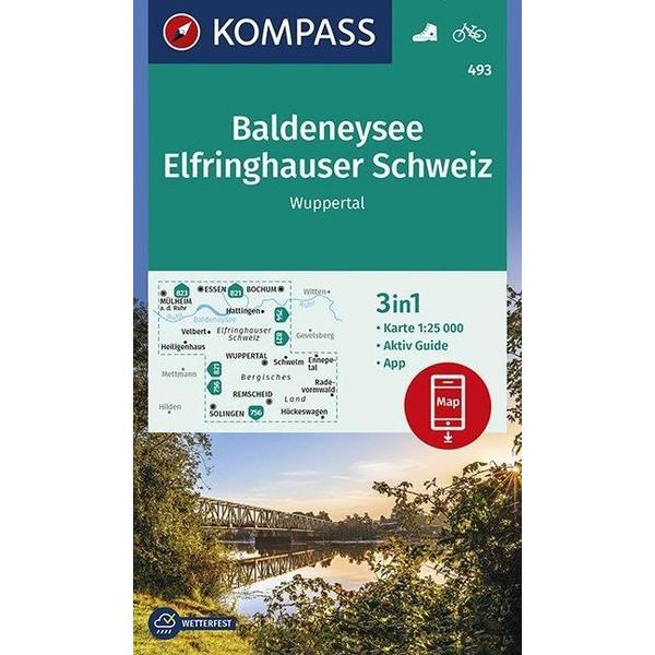 Baldeneysee, Elfringhauser Schweiz, Wuppertal 1:25 000 - Wanderkarte