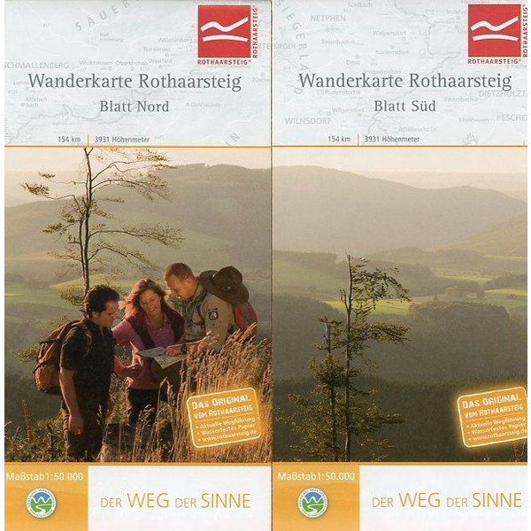 Wanderkarte Rothaarsteig Süd / Nord. 1 : 50 000 - Wanderkarte
