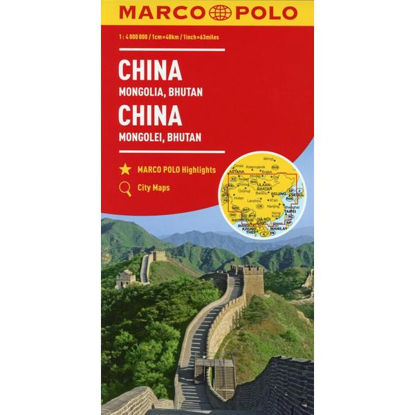 MARCO POLO Kontinentalkarte China, Mongolei, Bhutan 1:4 000 000 - Straßenkarte