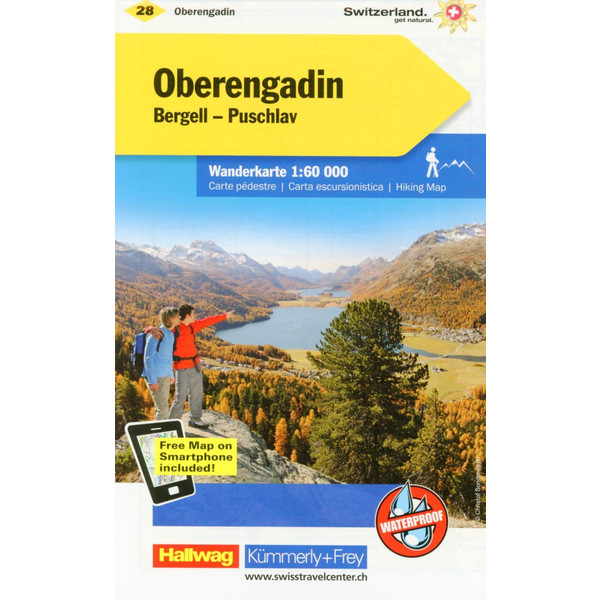 KuF Schweiz Wanderkarte 28 Oberengadin Bergell, Puschlav 1 : 60 000 - Wanderkarte