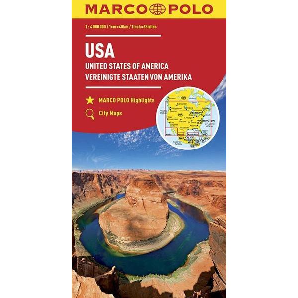 MARCO POLO Kontinentalkarte USA 1:4 000 000 - Straßenkarte