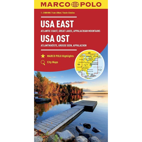 MARCO POLO Kontinentalkarte USA Ost 1:2 000 000 - Straßenkarte