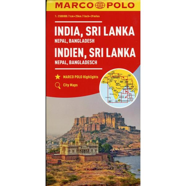MARCO POLO Kontinentalkarte Indien, Sri Lanka 1:2 500 000 - Straßenkarte