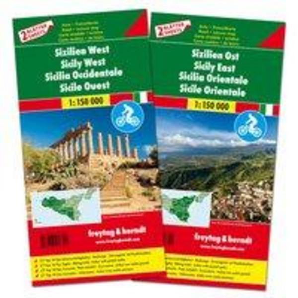 Sizilien West und Ost, Set, Autokarte 1:150.000 - Straßenkarte