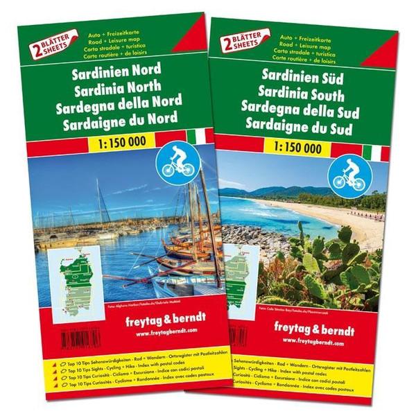 Sardinien Nord und Süd, Set, Autokarten 1:150.000 - Straßenkarte