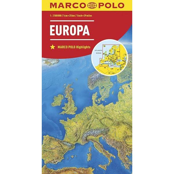 MARCO POLO Länderkarte Europa, physisch 1:2 500 000 - Straßenkarte