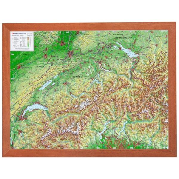 Relief Schweiz klein 1:1 MIO mit Holzrahmen - Karte