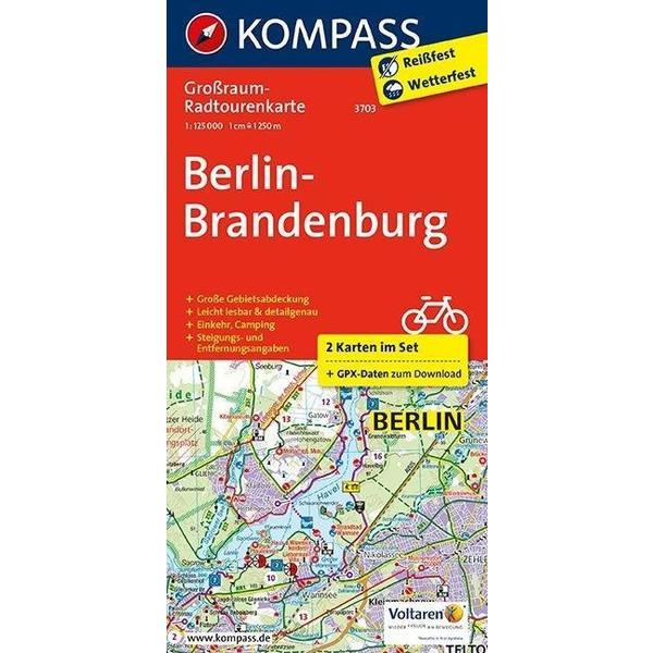 KOMPASS Großraum-Radtourenkarte Berlin-Brandenburg 1 : 125 000 - Fahrradkarte