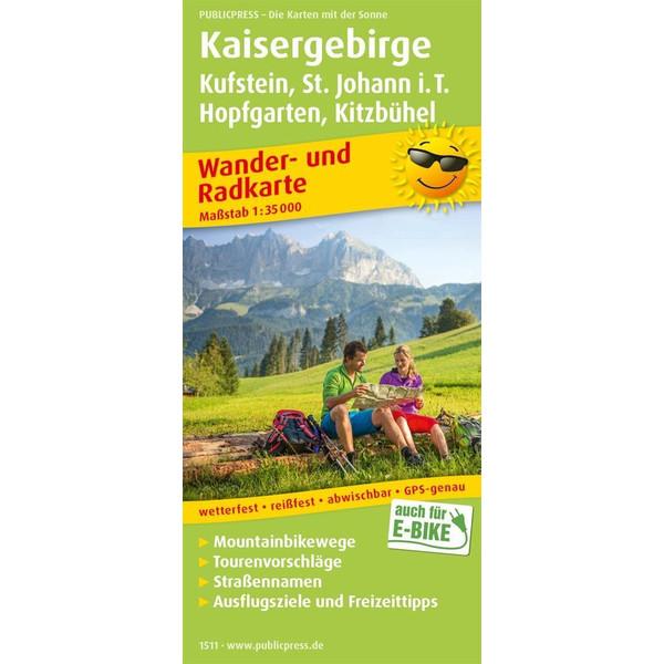 Kaisergebirge, Kufstein - St. Johann i.T., Hopfgarten - Kitzbühel Wander- und Radkarte 1 : 35 000 - Wanderkarte