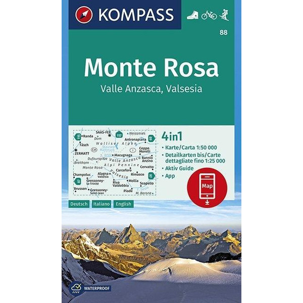 Monte Rosa, Valle Anzasca, Valsesia 1 : 50 000 - Wanderkarte