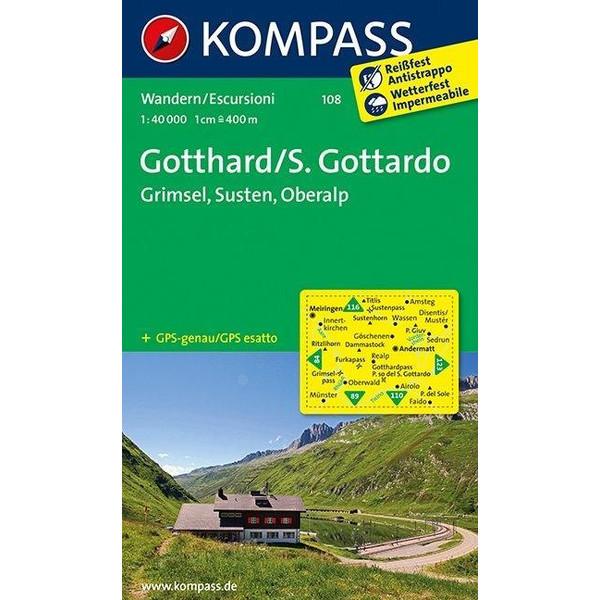 Gotthard / S. Gottardo - Grimsel - Susten - Oberalp 1 : 40 000 - Wanderkarte