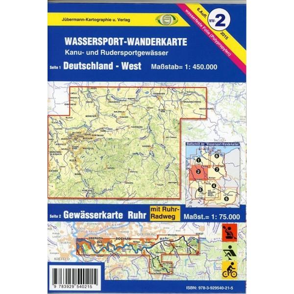 Wassersport-Wanderkarte 02. Deutschland West 1 : 450 000 - Wanderkarte