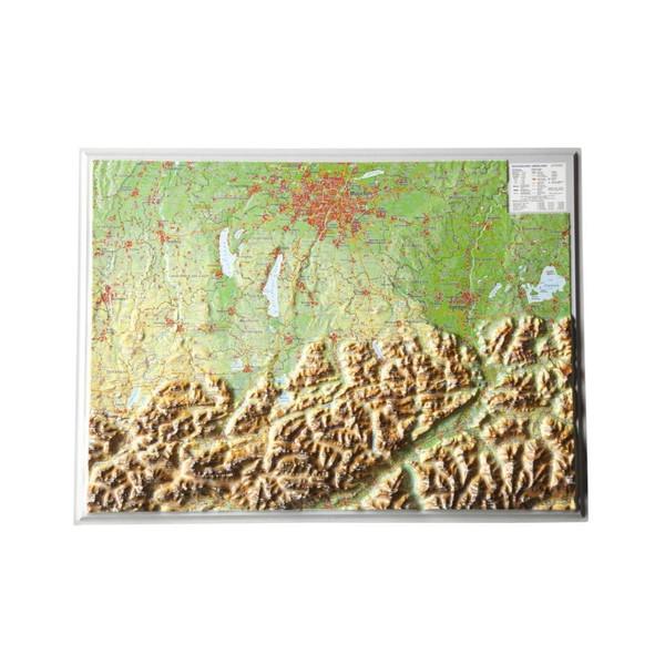 Reliefkarte Bayerisches Oberland 1 : 400.000