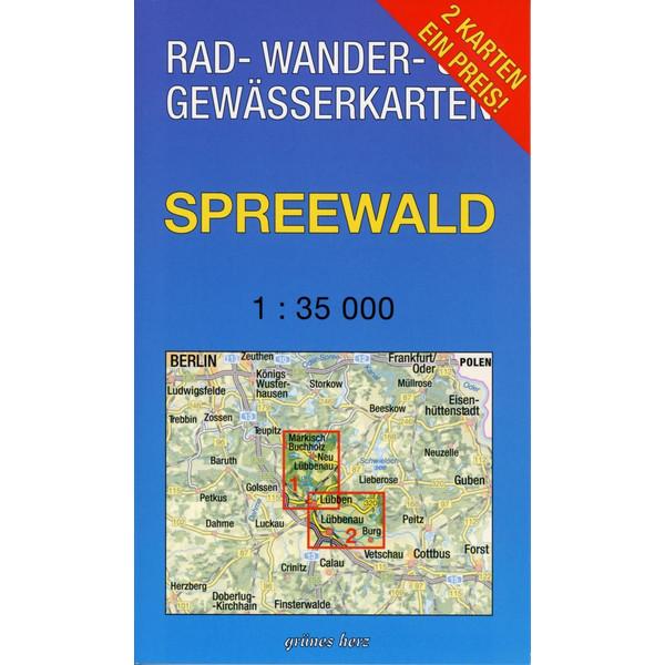 Spreewald 1 : 35 000 Rad-, Wander- und Gewässerkarten-Set - Fahrradkarte