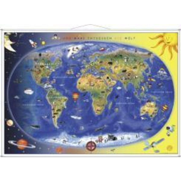 Kinderweltkarte Lernposter mit Metallbeleistung - Weltkarte