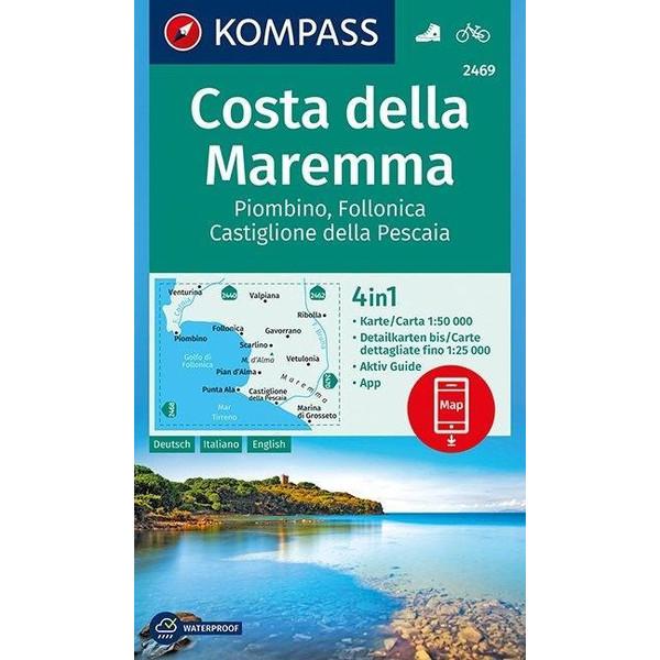 Costa della Maremma, Piombino, Follonica, Castiglione della Pescaia 1:50 000 - Wanderkarte