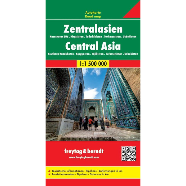 Zentralasien - Kasachstan Süd - Kirgisistan - Tadschikistan -Turkmenistan - Usbekistan 1 : 1.500.000  Autokarte - Straßenkarte