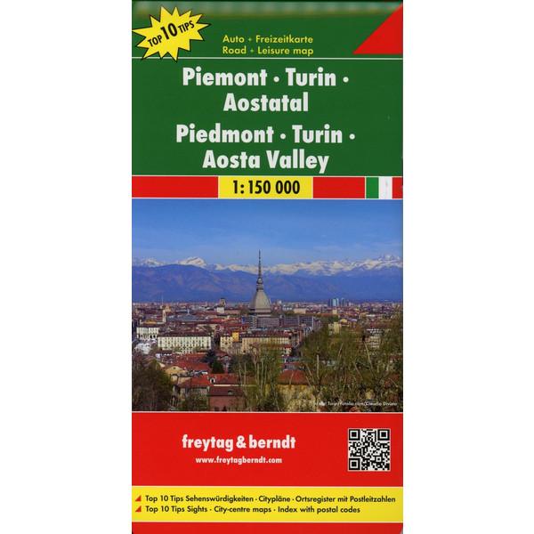 Piemont - Turin - Aostatal 1 : 150 000 - Straßenkarte