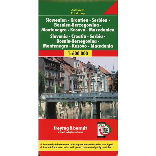 Slowenien / Kroatien / Serbien /  Bosnien-Herzegowina / Montenegro / Kosovo / Mazedonien 1 : 600 000. Autokarte - Straßenkarte