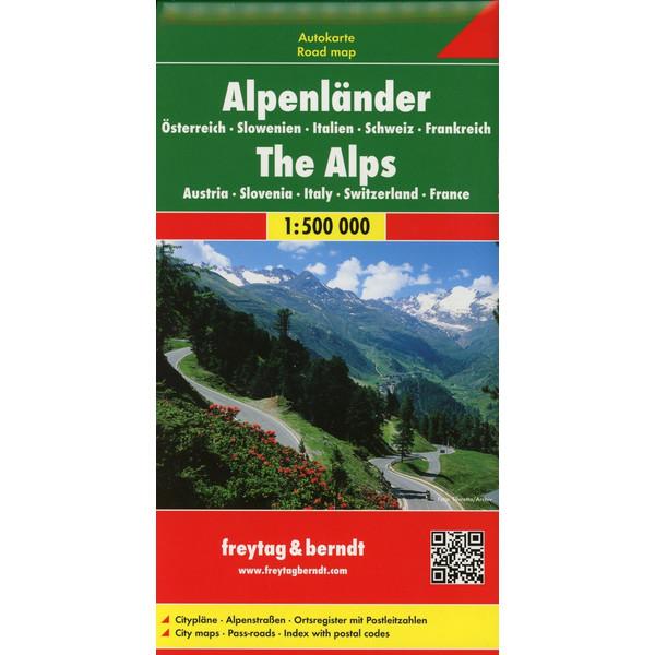 Alpenländer - Österreich - Slowenien - Italien - Schweiz - Frankreich, Autokarte 1:500.000 - Straßenkarte