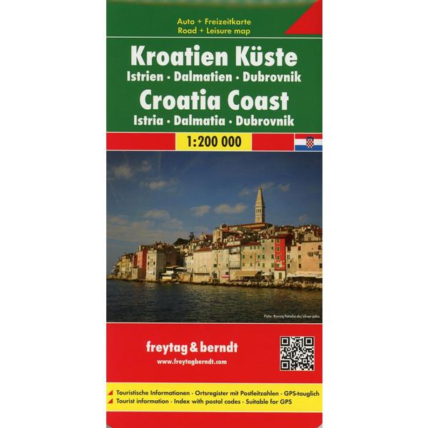 Kroatien Küste, Istrien - Dalmatien - Dubrovnik 1 : 200 000 Autokarte - Straßenkarte