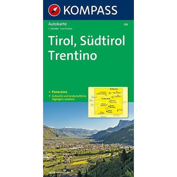 Tirol - Südtirol - Trentino - Panorama 1 : 250 000 - Straßenkarte