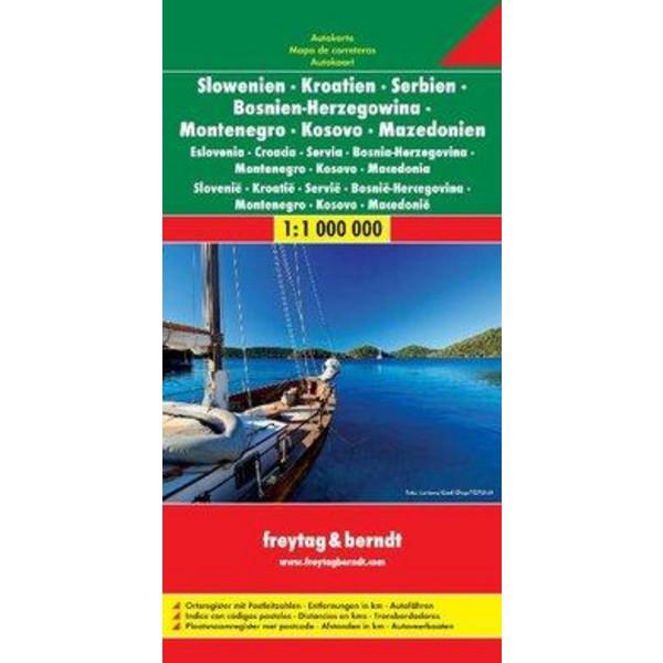 Slowenien / Kroatien / Serbien / Bosnien-Herzegowina / Montenegro / Kosovo / Mazedonien 1 : 1 000 000. Autokarte - Straßenkarte