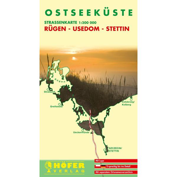 Höfer DE025. Ostseeküste. Rügen-Usedom-Stettin 1 : 200 000. Straßenkarte - Straßenkarte