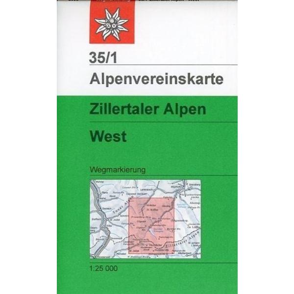 DAV Alpenvereinskarte 35/1 Zillertaler Alpen West 1 : 25 000 Wegmarkierungen - Wanderkarte