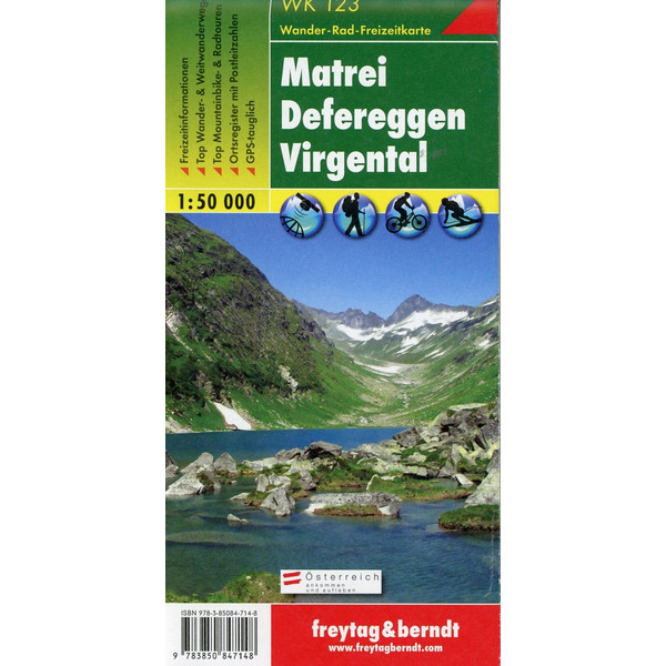 Matrei, Defereggen, Virgental 1 : 50 000. WK 123 - Wanderkarte