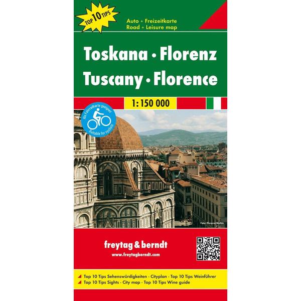 Toskana - Florenz, Autokarte 1:150.000 - Straßenkarte