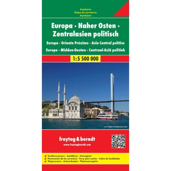 Europa - Naher Osten - Zentralasien 1 : 5 500 000 politisch. Autokarte - Straßenkarte