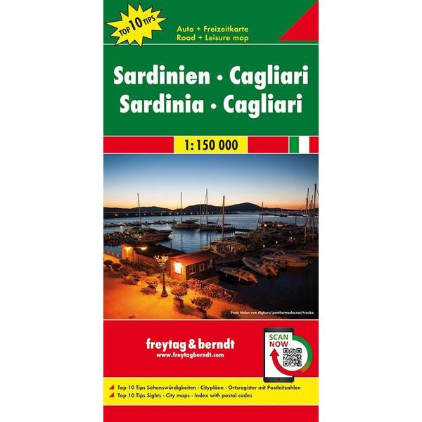 Sardinien . Cagliari, Top 10 Tips, Autokarte 1:150.000 - Straßenkarte