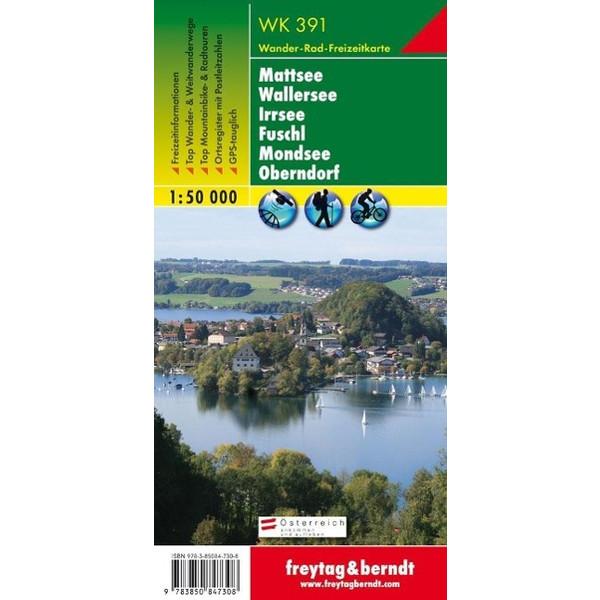 Mattsee, Wallersee, Irrsee, Fuschl, Mondsee, Oberndorf 1 : 50 000. WK 391 - Wanderkarte