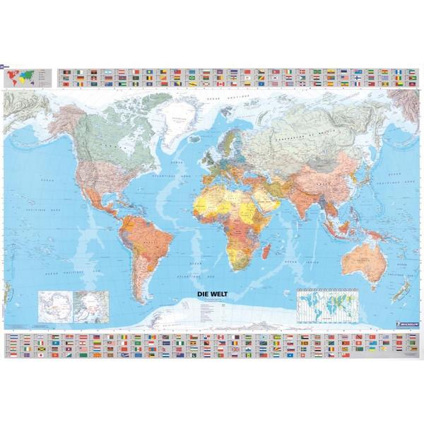 Michelin Welt 1 : 28 500 000. Poster-Karte mit Leiste. Plano. Deutsche Version - Weltkarte