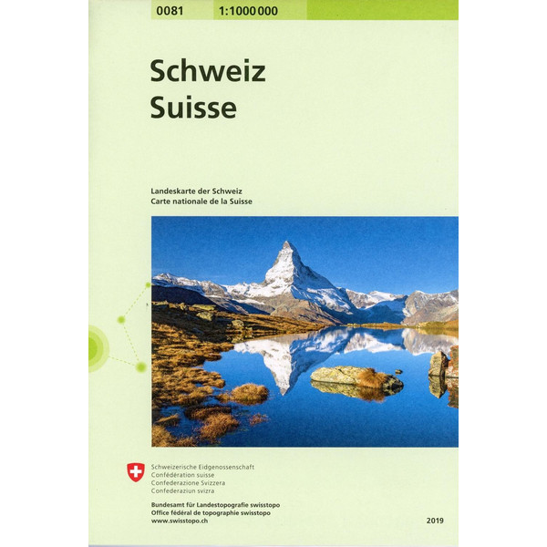 Swisstopo Switserland National Map 1:1 000 000 - Straßenkarte