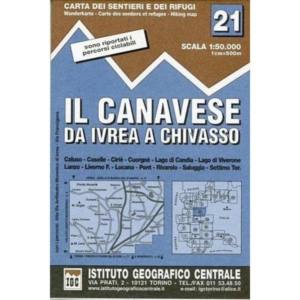 IGC Italien 1 : 50 000 Wanderkarte 21 Il Canavese - Wanderkarte